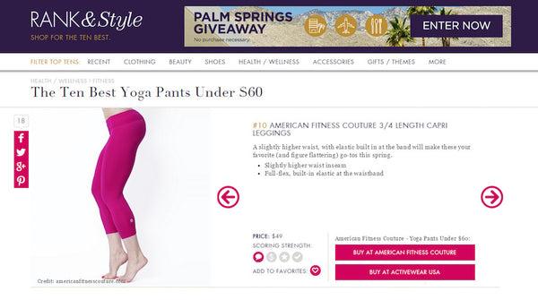 TEN BEST YOGA PANTS UNDER $60 BY RANK & STYLE. OUR 3/4 LENGTH LEGGINGS MADE THEIR LIST!