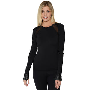 Black-Long Sleeve-Workout Top
