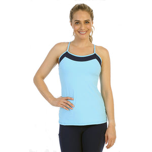 Light Blue-Racerback Y Built In Bra Top