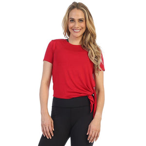 Red-Organic Bamboo-Side Tee Shirt-front image
