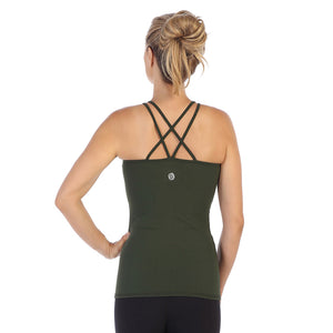 Camo-Green-Strappy Back-Workout Tank Top