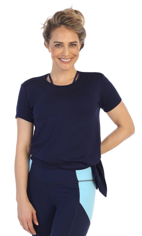 American Fitness Couture_Navy-Organic-Bamboo-Side-Tie-Tee