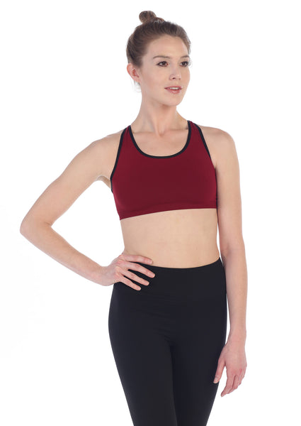 WeHo Burgundy Strappy Back Sports Bra-American Fitness Couture