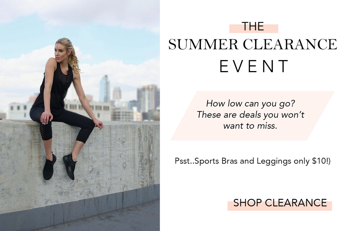 Summer Clearance Sale. Leggings and Sports Bras On Sale Ten Dollars