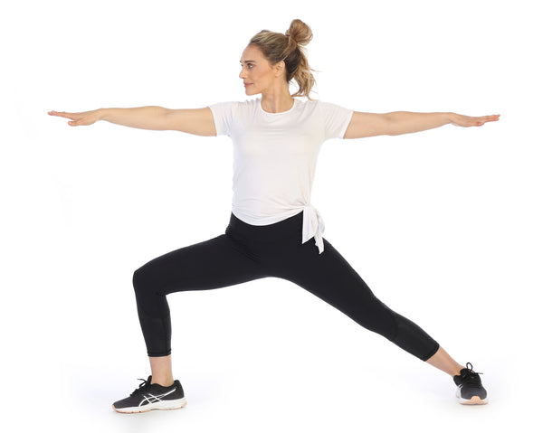 White-Organic Bamboo Yoga Tee-Black-Leggings-Warrior Pose