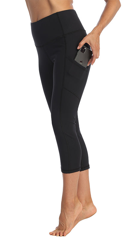 Black-3-4-Length Side Pocket Leggings-Pocket image