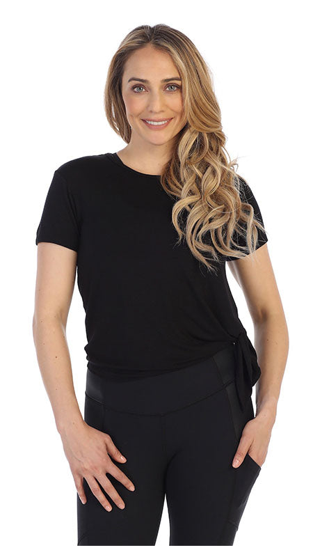 Black Certified Organic Silky Soft Bamboo Side Tie Tee-front image