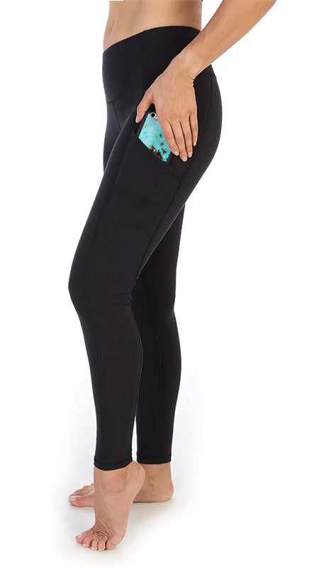 Black-High Waist-Full Length Leggings-Pocket Leggings