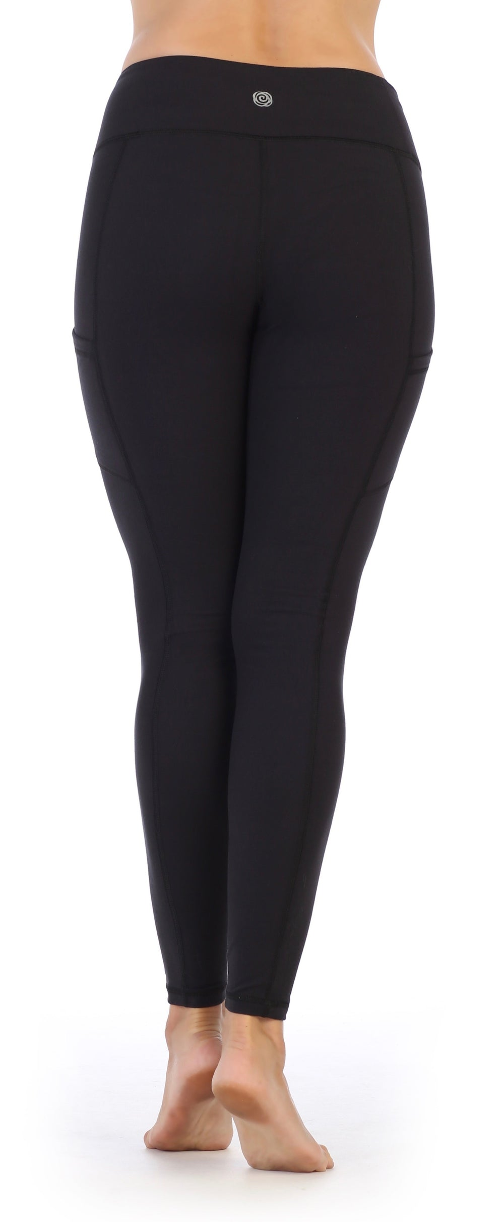 Black--High Waist-Pocket Compression Full Length Leggings-back image