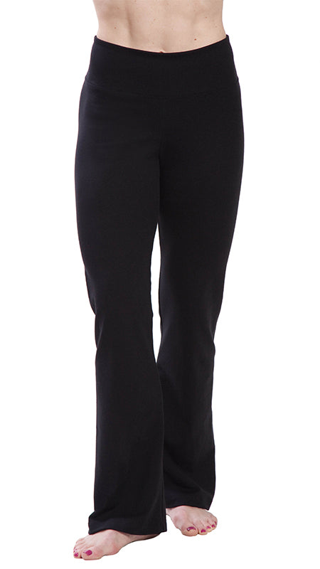Black-High Waisted-Bootcut-Workout Yoga Pants-front image