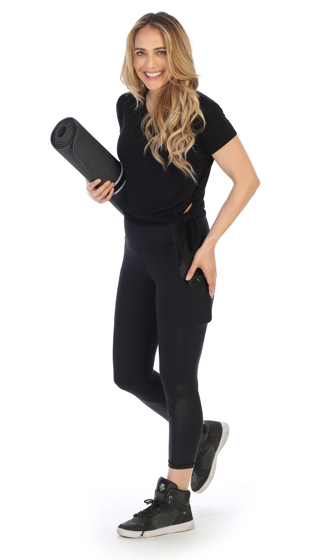 Black-Certified Organic Silky Soft Bamboo Side Tie Tee-Lifestyle with yoga mat