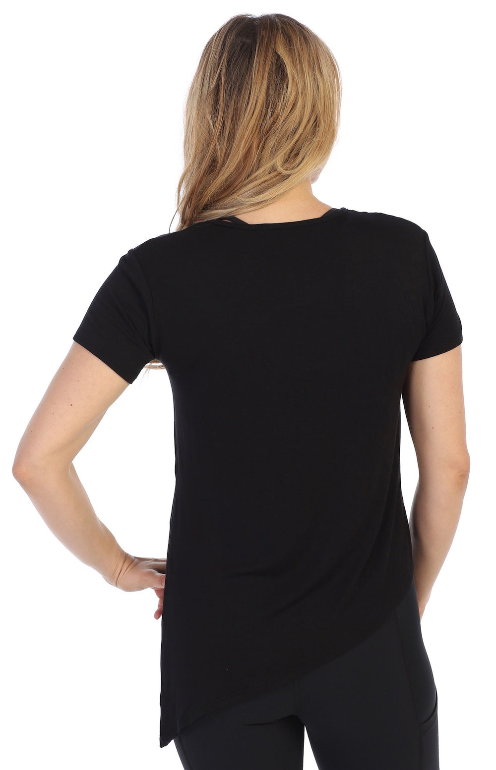 Black-Certified Organic Silky Soft Bamboo Side Tie Tee-back image