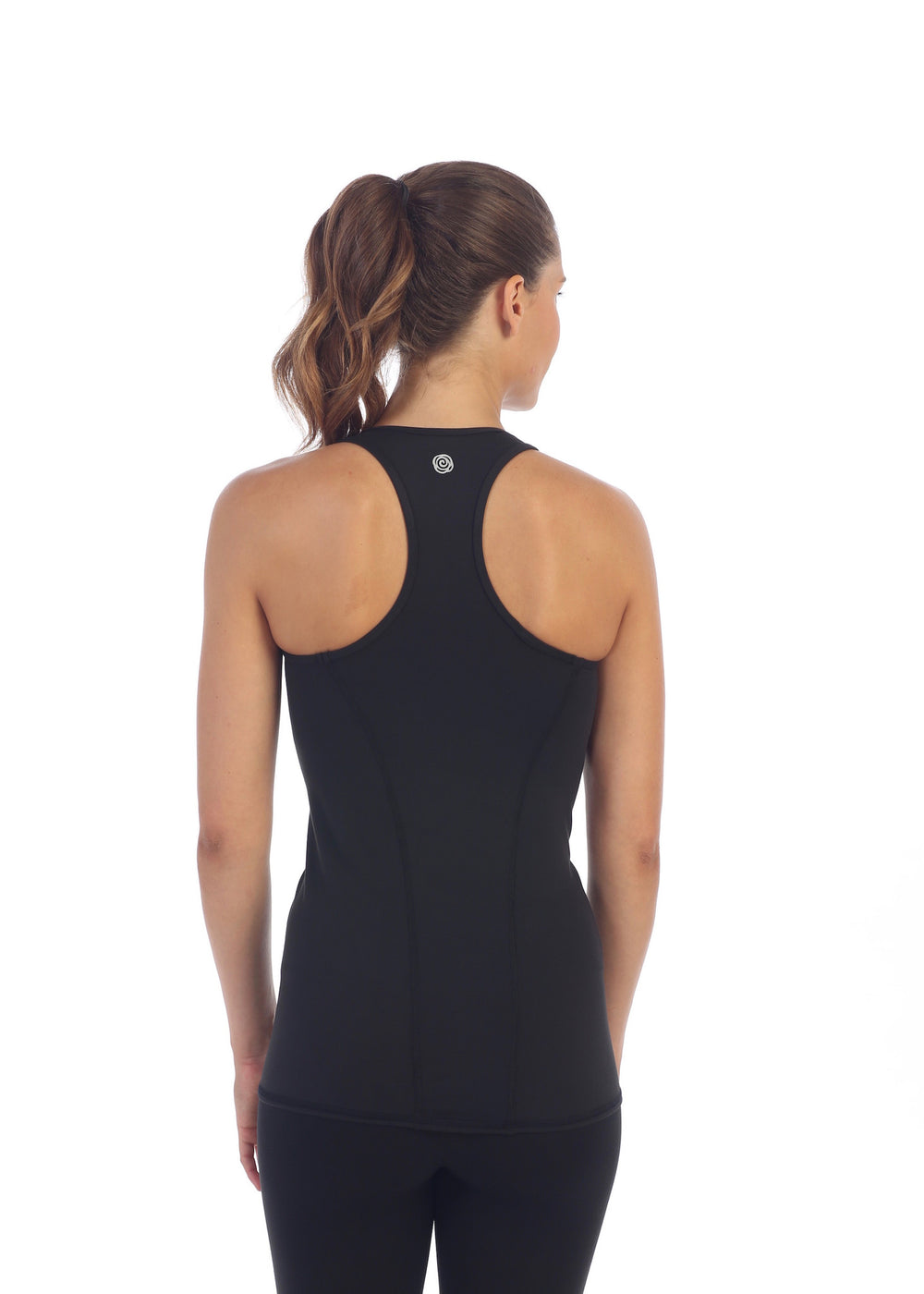 Womens Black Fitted Racerback Gym Top back image