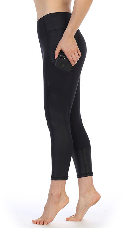 Black Ultra-Soft Color Block 7/8 Pocket Leggings