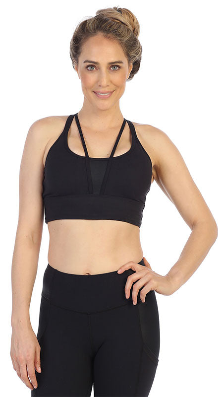 Black Ultra-Soft Color Block Strappy Back Sports Bra-front image