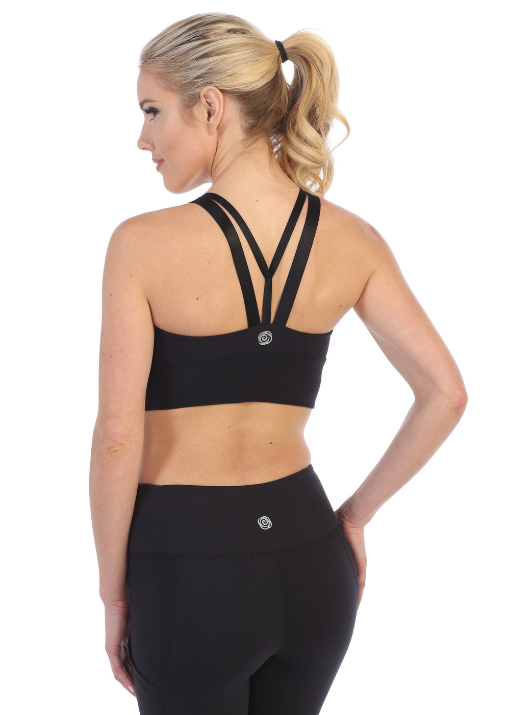 Black-Scoop Back Workout Tank Top Built In Sports Bra-back image