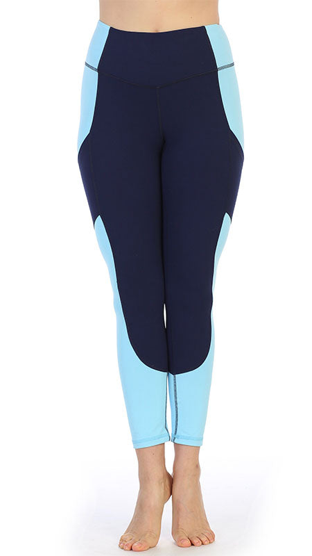 Navy - Light Blue Ultra-Soft Color Block 7/8 Pocket Leggings