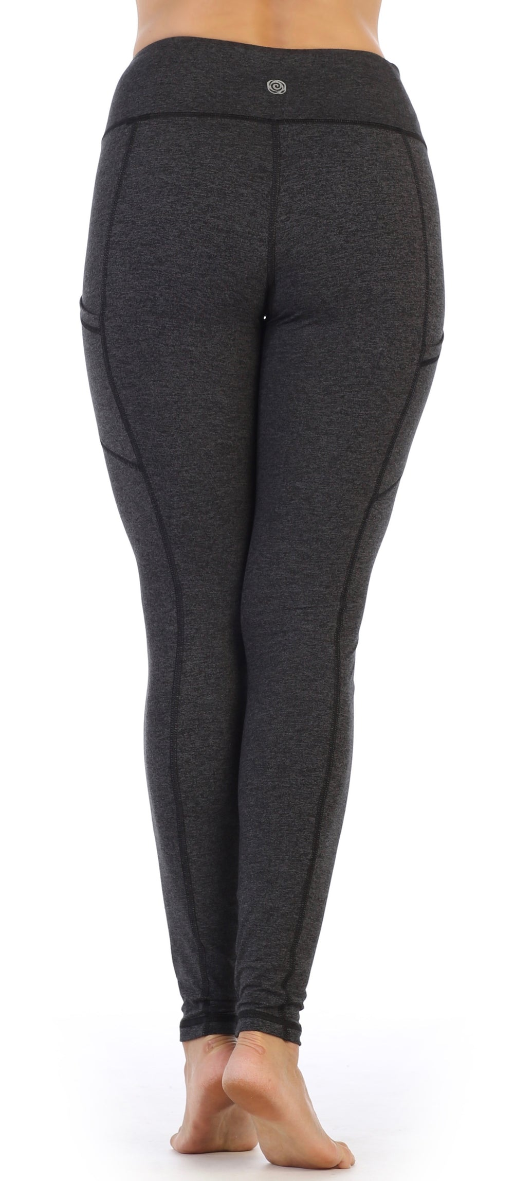 Dark Heather Charcoal-Women's Full Length Pocket Compression Leggings High Waisted-back