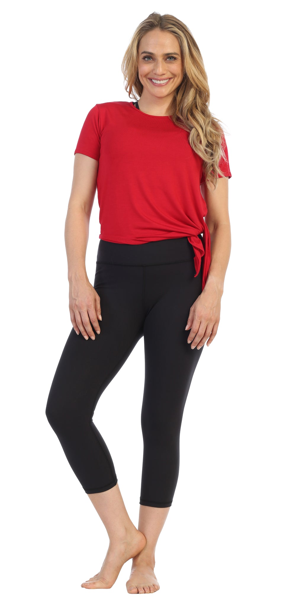 Deep Red-Organic-Side Tie-Studio Tee-American-Fitness-Couture