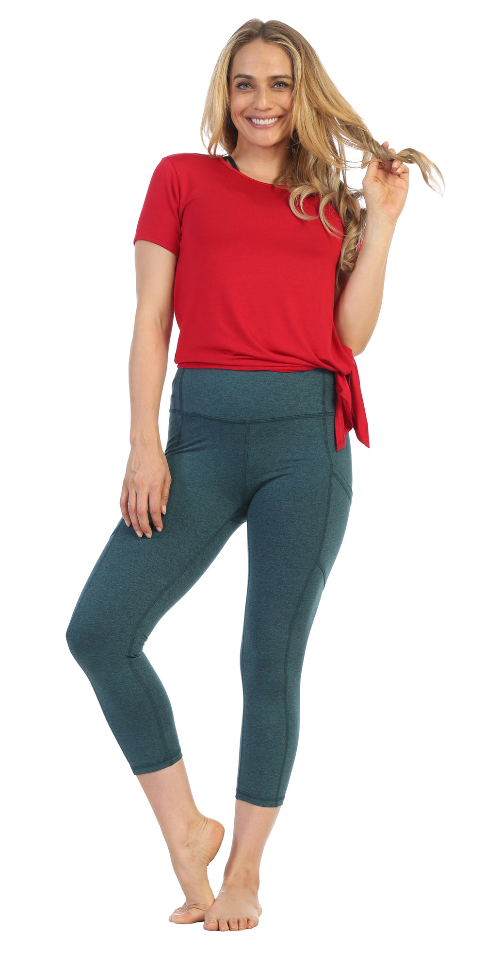 Teal-Heather Spacedye-High Waist-3-4 Length Pocket Leggings-lifestyle pose-red tee shirt