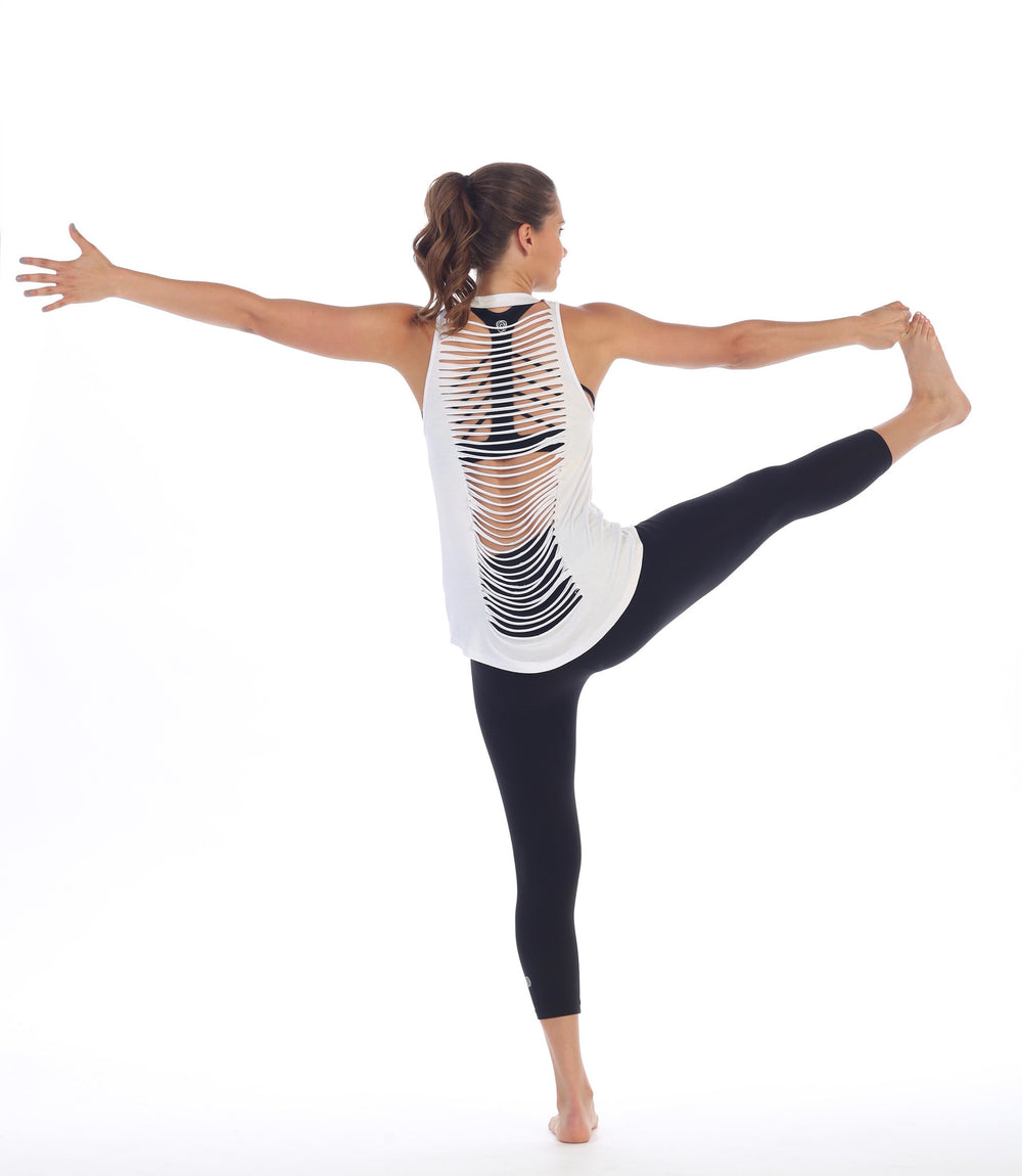 Womens White Get Shredded Top - Tree Pose