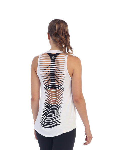 Womens White Get Shredded Top - back image