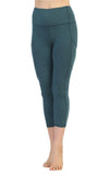 Heather Teal-Capri Length Pocket Leggings-front image