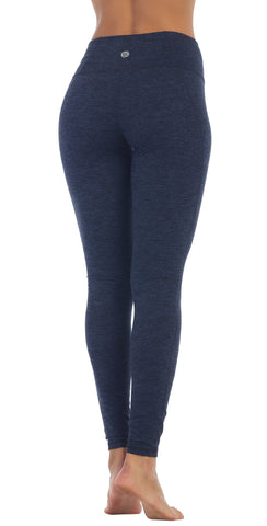 Womens Spacedye Heather Blue Opaque High Waist Ankle Full Length Leggings back image