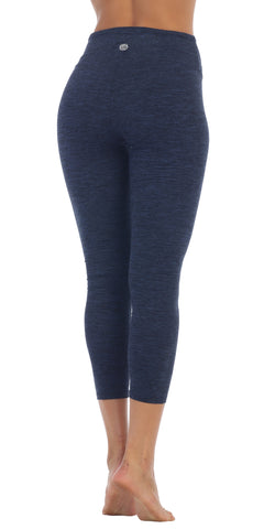 Womens SpaceDye Heather Blue Fold-Over High Waist 3/4 Legging back image