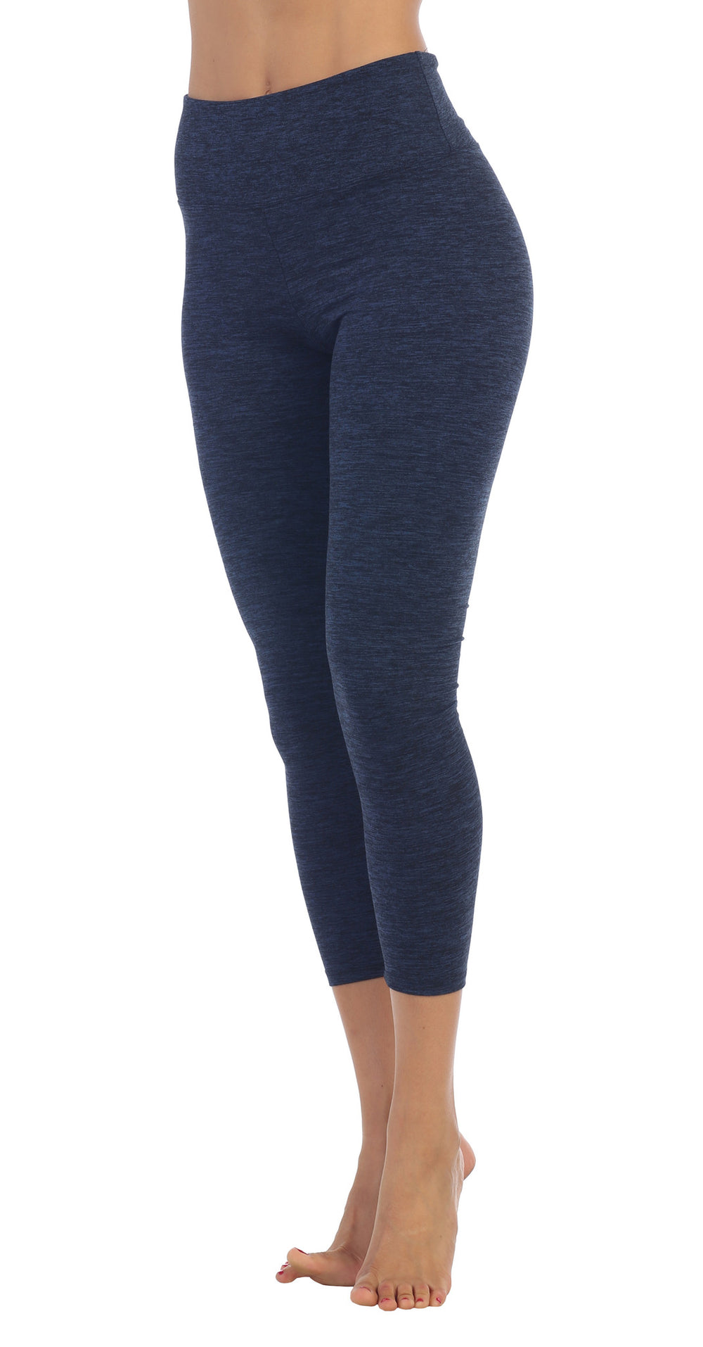 Womens SpaceDye Heather Blue Fold-Over High Waist 3/4 Legging front image