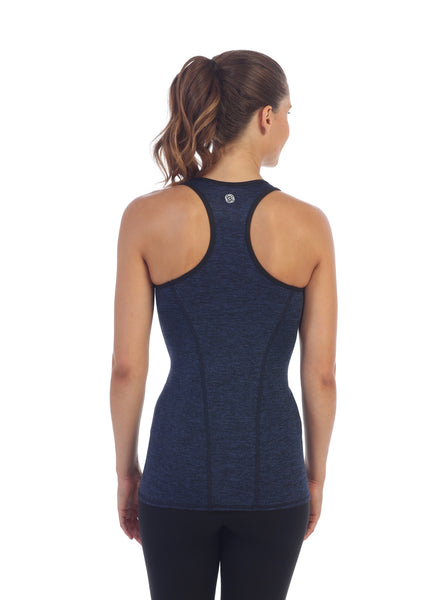 Heather Blue, Women's Fitted Racerback Workout Gym Tank Top, American Fitness Couture, back image