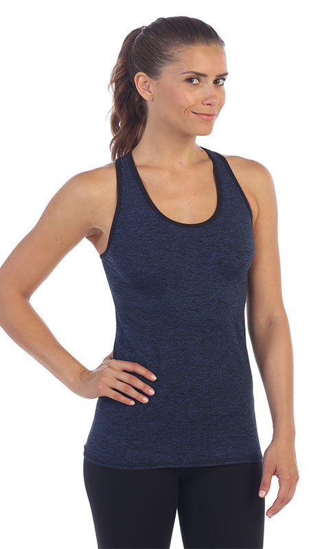 Heather Blue-Racerback Workout Tank Top-front image