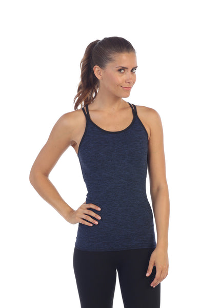 Heather Blue, Strappy Back Camisole Top Built In Sports Bra, front image