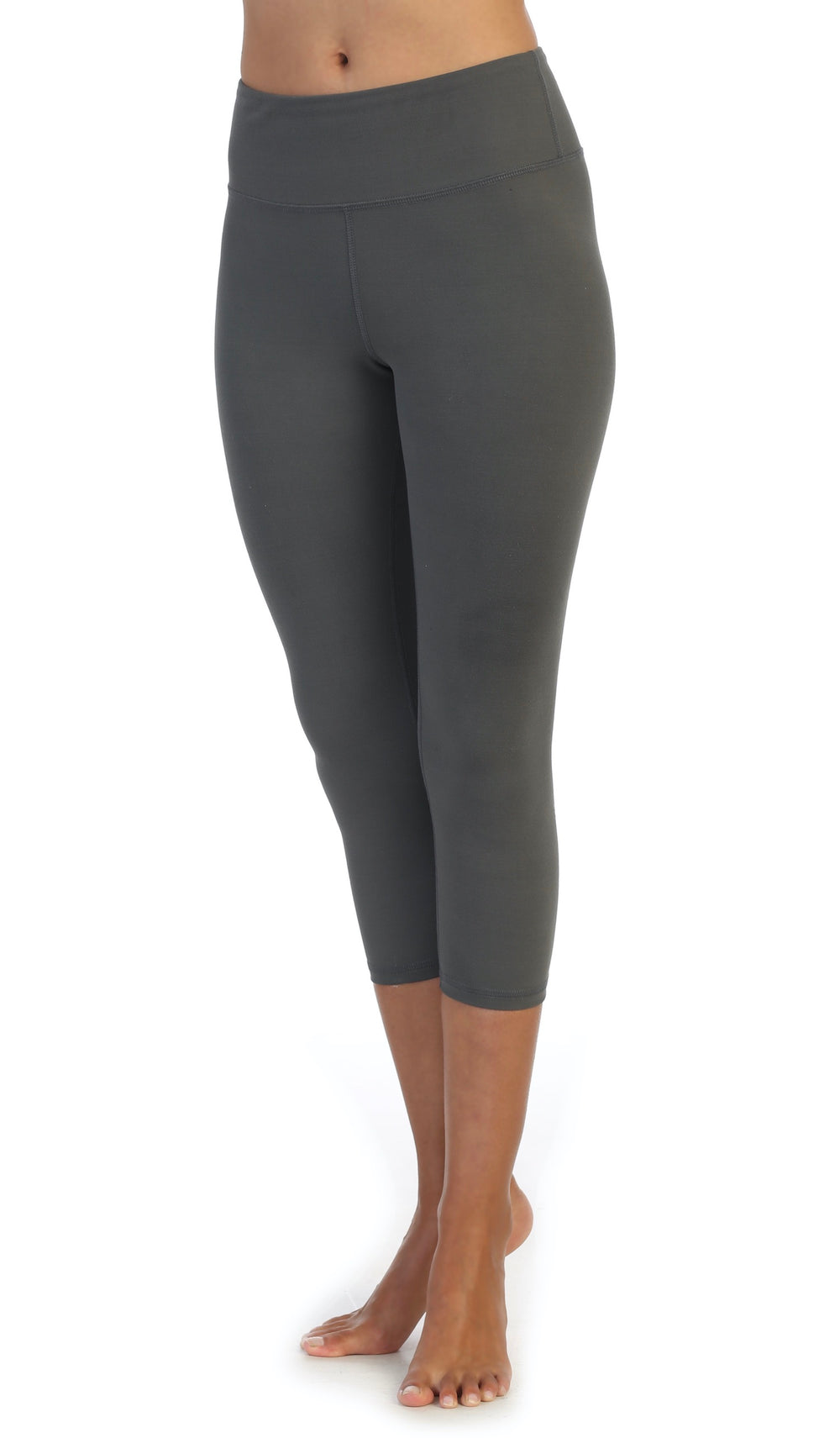 Gray-Super Soft-High Waist-3-4 Length Leggings-front image