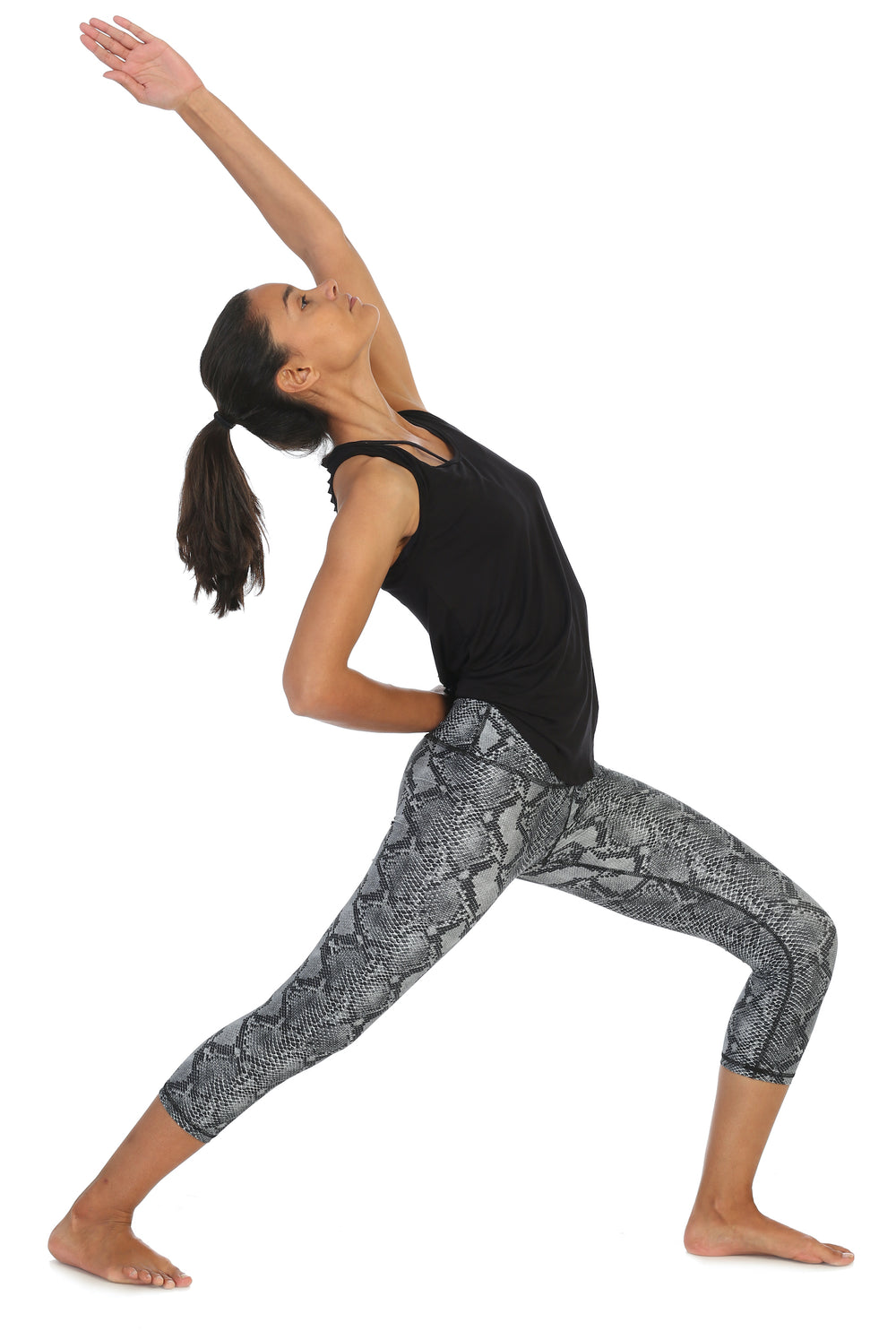 Snakeskin-High Waist-3-4 Length Leggings-yoga pose