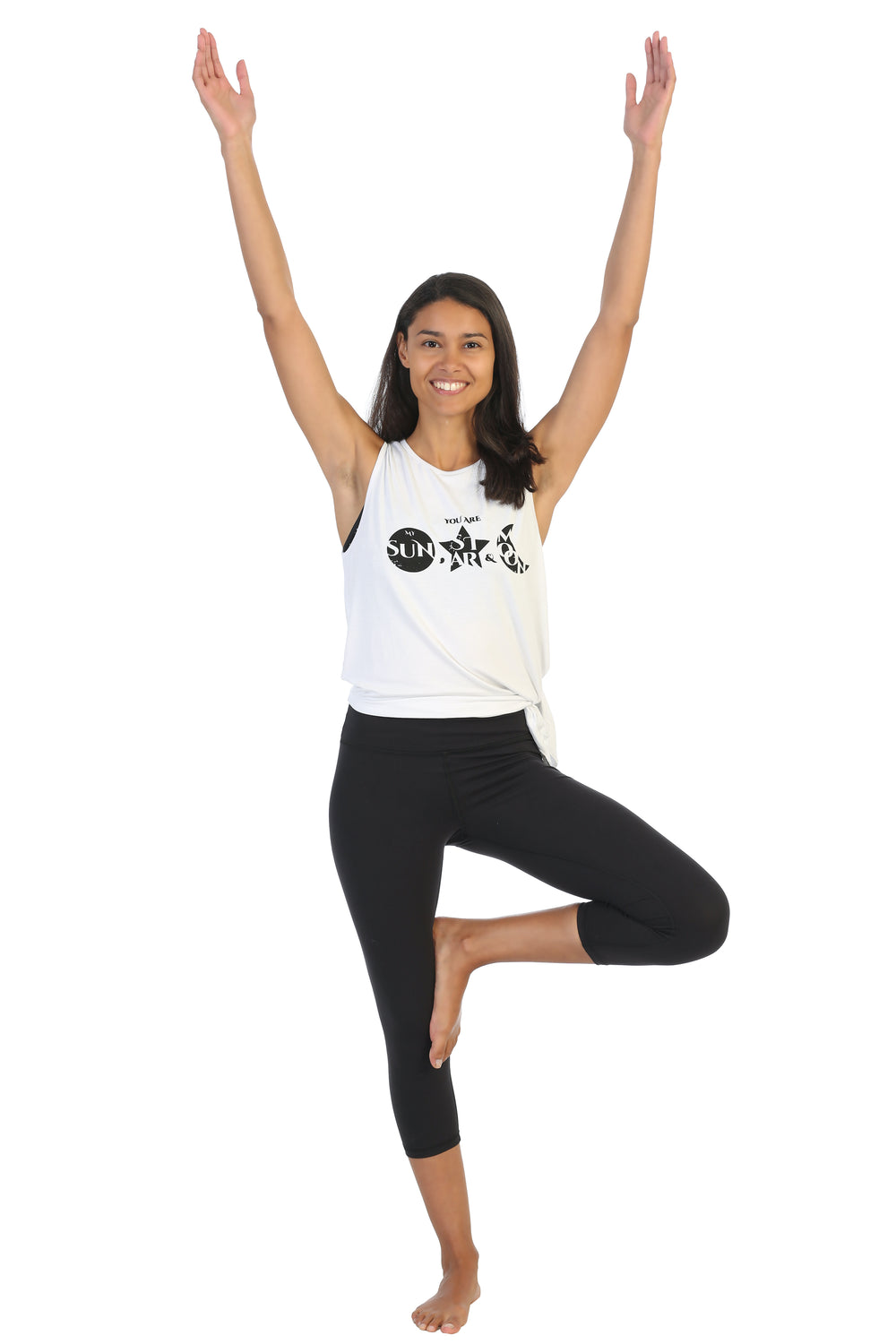 Organic Bamboo Message Side Tie Tank-You are my Sun-Moon-Stars-Yoga Pose