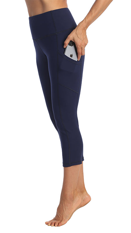 Navy-3-4-Length Side Pocket Leggings-Side Pocket Image