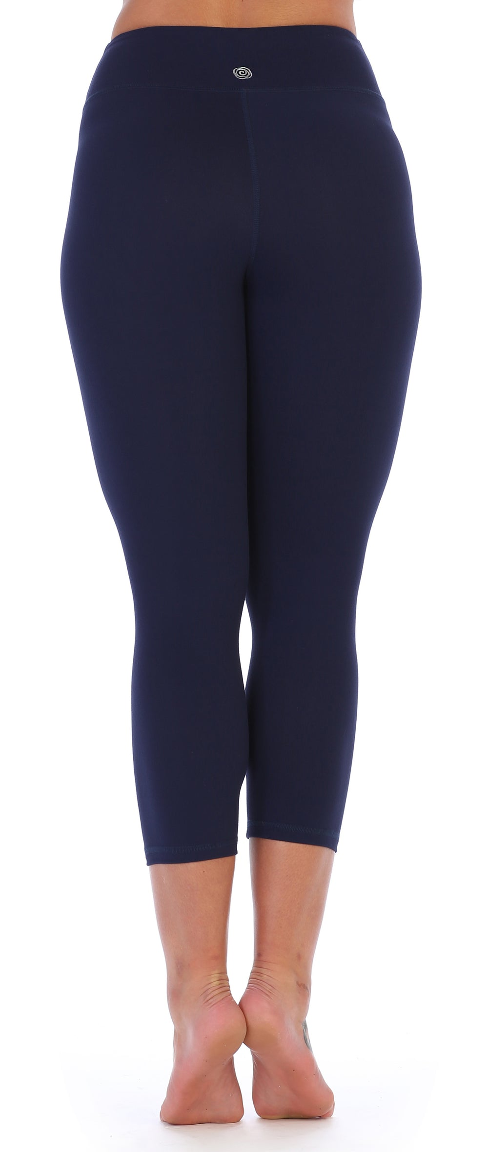Navy-Compression 3/4 Length Workout Leggings-back image