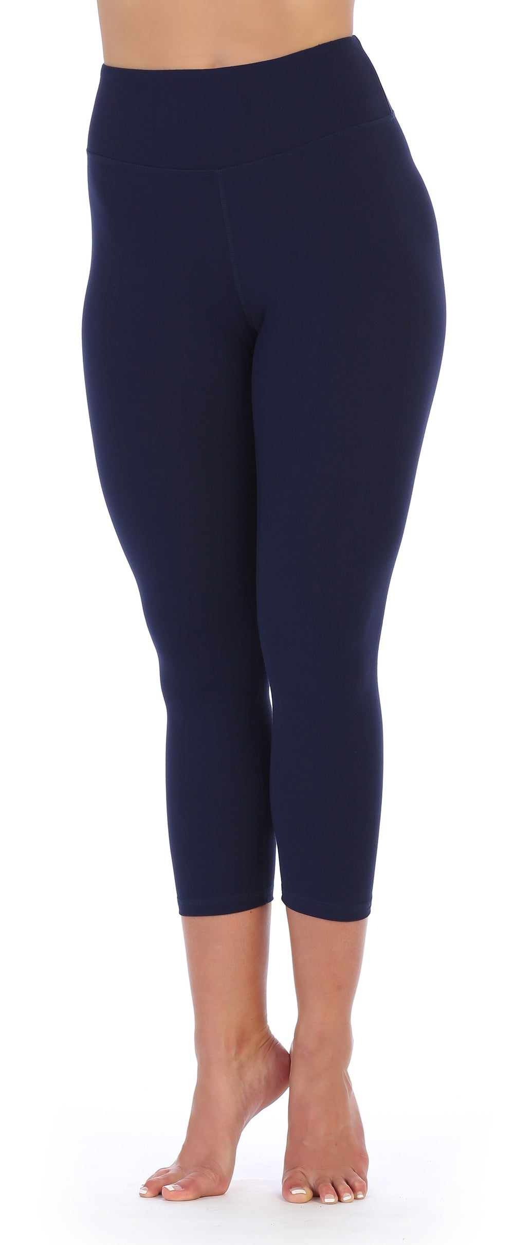 Navy-Compression 3/4 Length Workout Leggings-front image