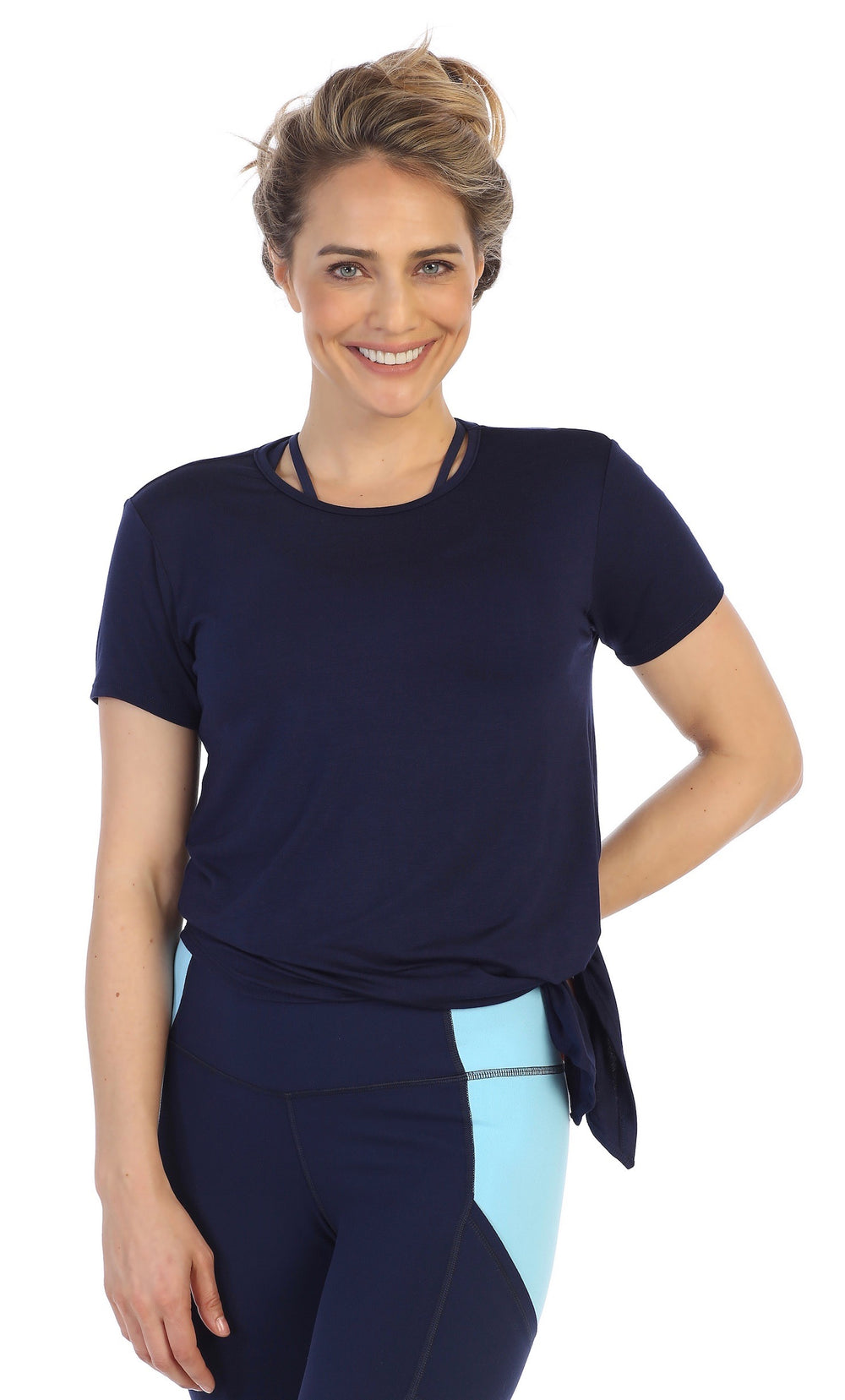 Navy-Organic Bamboo-Side Tie-Studio Tee-American Fitness Couture