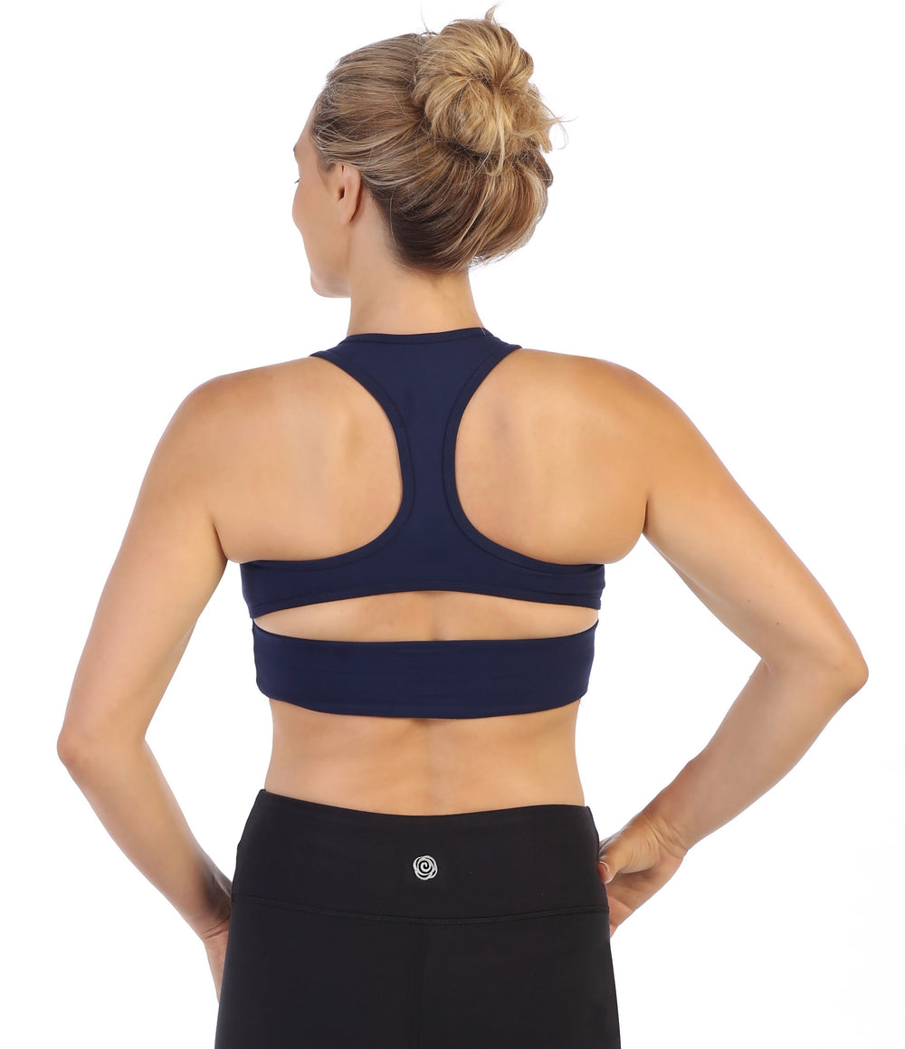 Navy-Racerback Crop Top Sports Bra-back