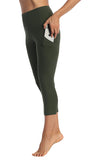 Olive-3-4 Length Side Pocket Leggings-pocket Image
