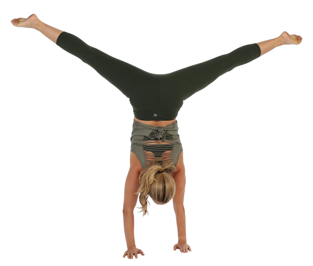 Olive--Compression 3/4 Length Leggings-high waist-handstand