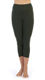 Olive-Compression 3-4 Length Leggings-front image