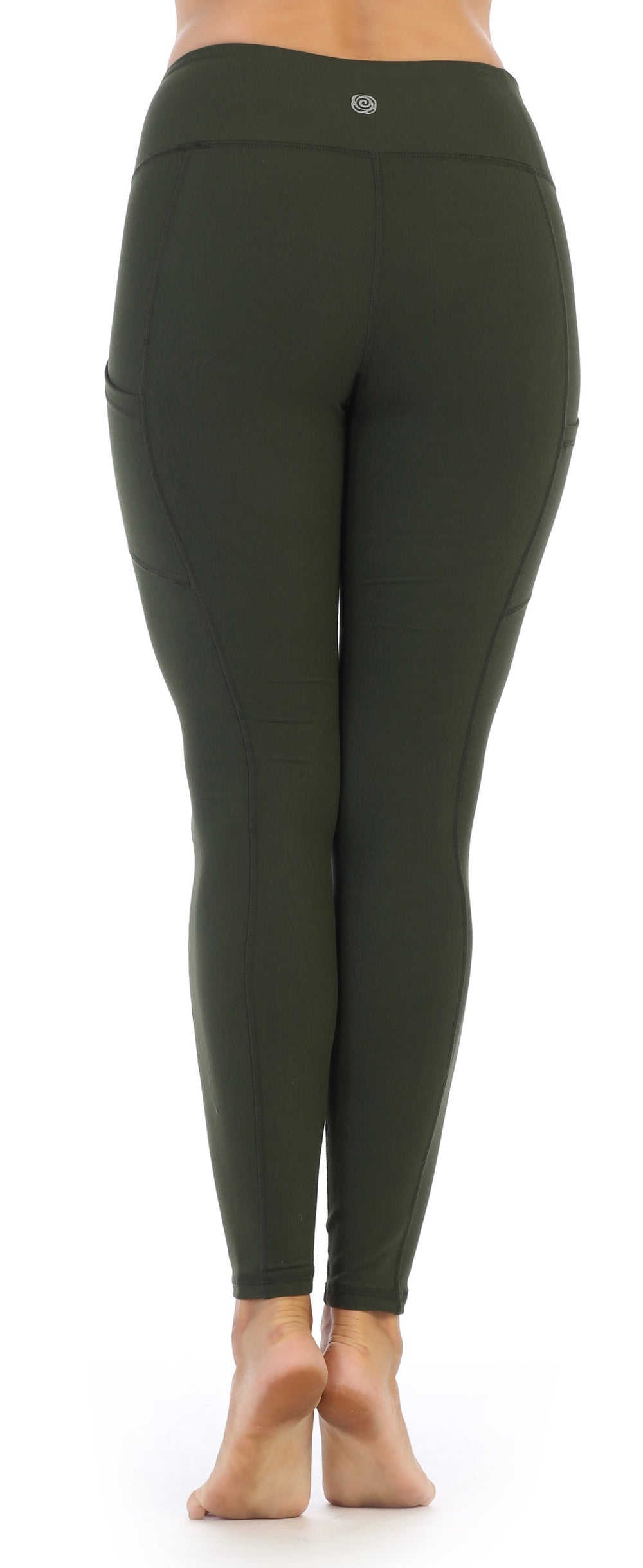 Olive-Compression-Full Length Leggings-back image
