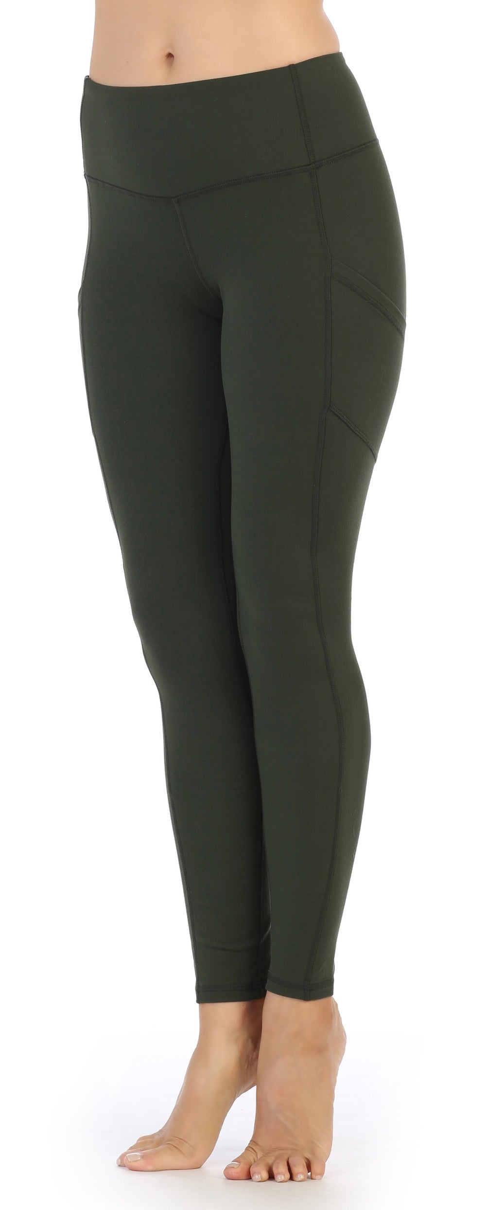Olive-Womens Full Length Pocket Compression Leggings High Waisted-front