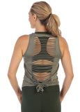 Women's Ultra-Soft Laser Cut Open Back Performance Tank Top