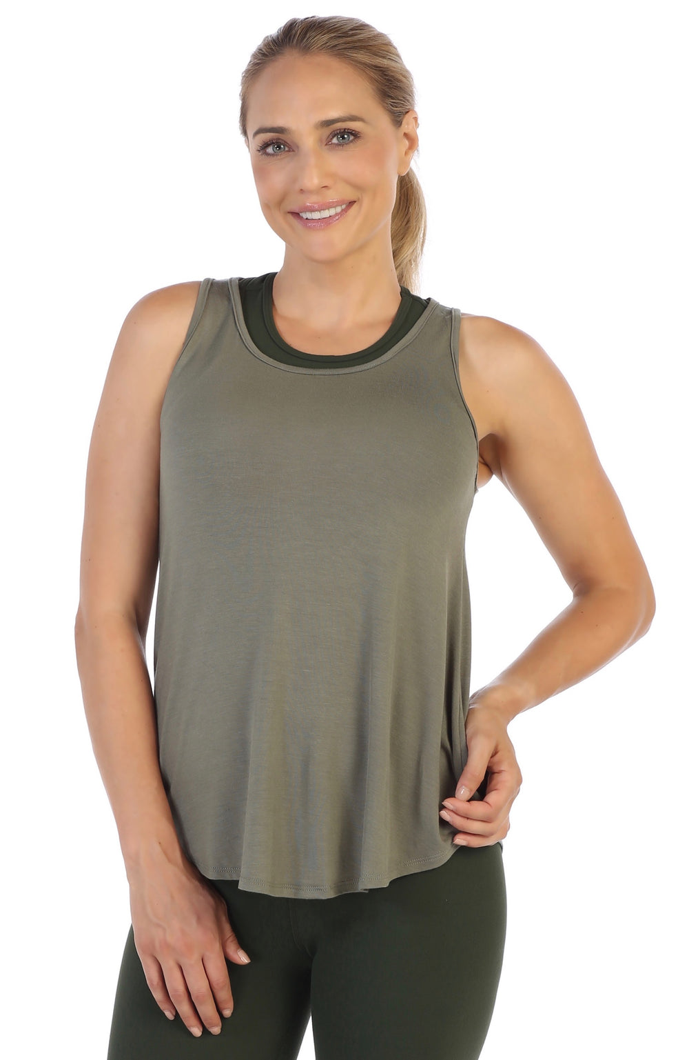 Olive-Get Shredded-Workout Tank Top-Front Flowy