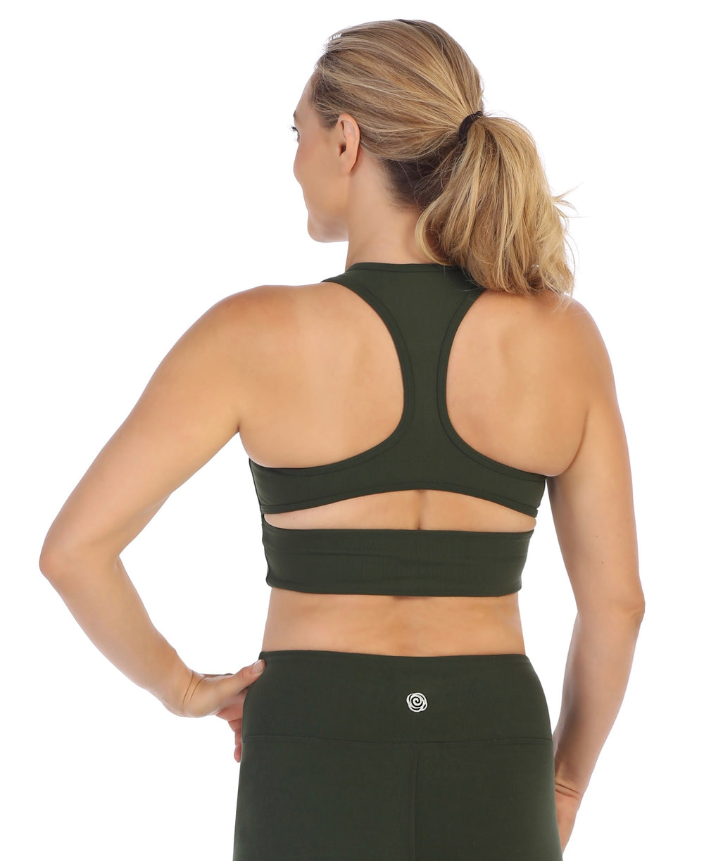 Olive-Racerback Crop Top Sports Bra-back