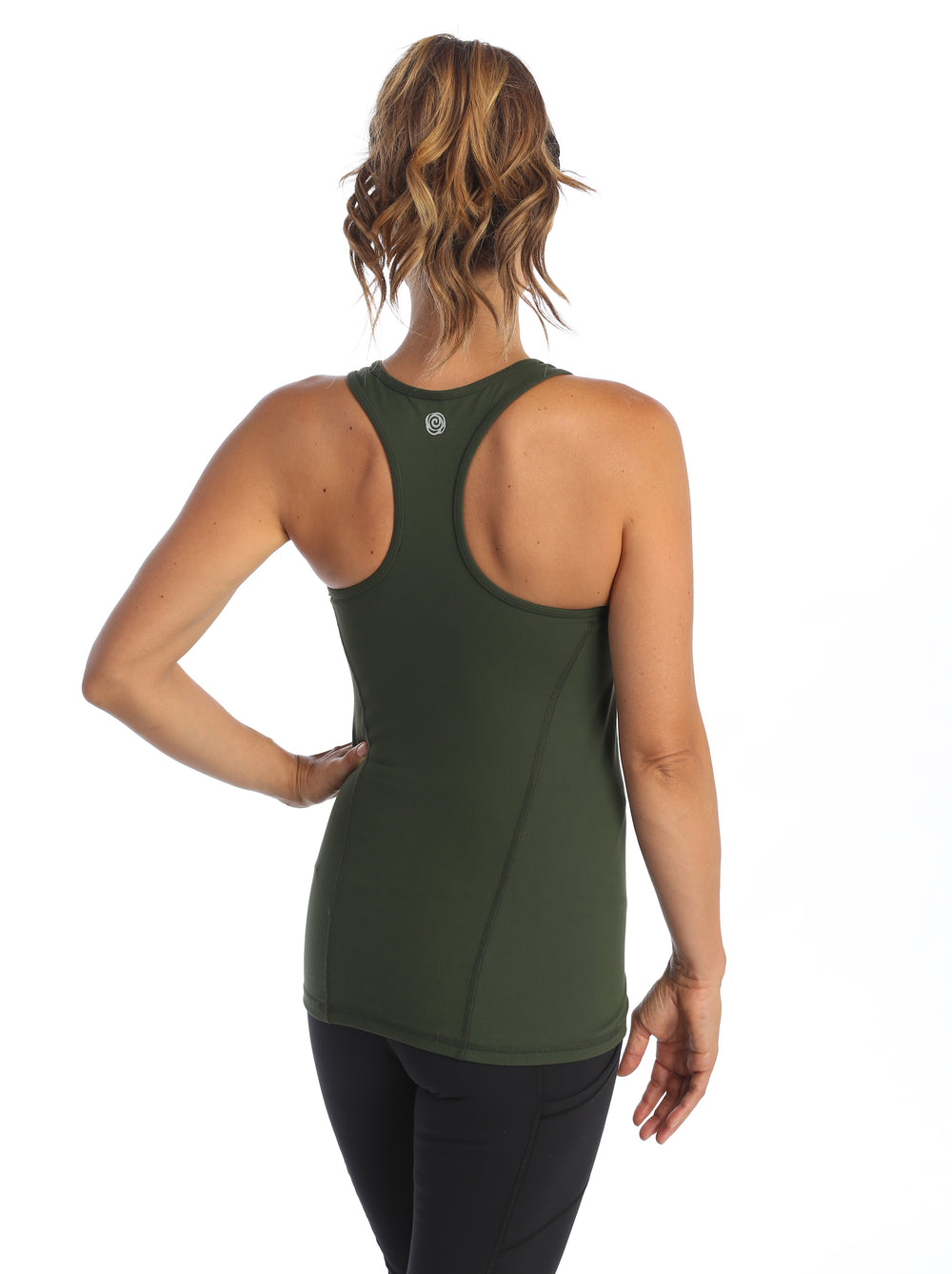 Olive-Racerback Workout Tank-back image